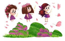 Collection of nature elements and cute little girls with long brown hair. Artistic hand drawn collection of nature elements and cute little girls with long brown Royalty Free Stock Photo