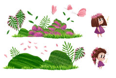 Collection of nature elements and cute little girls with long brown hair and pink dress. Artistic hand drawn collection of nature elements and cute little girls Stock Images