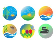 Collection of nature logos Royalty Free Stock Photo
