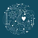 Collection of nautical elements in a circle shape. Stock Images