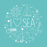 Collection of nautical elements in a circle shape. Royalty Free Stock Photos