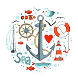 Collection of nautical elements in a circle shape. Royalty Free Stock Photo