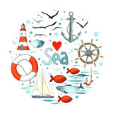 Collection of nautical elements in a circle shape. Stock Image
