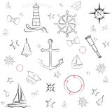 Nautical sea boat preppy icon vector illustration design element set Royalty Free Stock Images