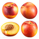 Collection of nectarines with a half isolated on white Stock Photo