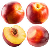 Collection of nectarines isolated on the white background Royalty Free Stock Image
