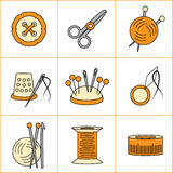 Collection of needlework, knitting, sewing icons (vector illustration) Stock Photo