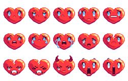 Set of 15 negative emotions heart shaped pixel art emoji in golden color. Collection of 15 negative emotions heart shaped pixel art emoji in golden color angry stock illustration