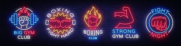 Collection neon signs for sports. Set neon logos emblems for Sports, design template symbols Boxing, Fitness Club, Fight. Club, Gum club, Sport club. Neon Stock Image