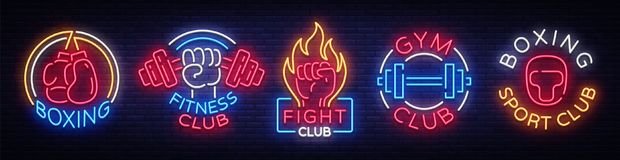Collection neon signs for sports. Set neon logos emblems for Sports, design template symbols Boxing, Fitness Club, Fight. Club, Gum club, Sport club. Neon Vector Illustration