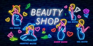 Collection neon signs . Cream, Beauty Shop, Beauty salon Logotype, Emblem in Modern Trend Design, Vector Template, Light stock illustration