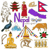 Collection of Nepal icons Stock Image