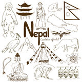 Collection of Nepal icons Royalty Free Stock Photography