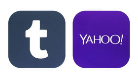 Collection of a new Tumblr and Yahoo logos Royalty Free Stock Images