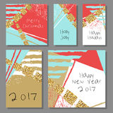 Collection of New Year and Christmas cards. Royalty Free Stock Photography