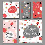 Collection of New Year and Christmas cards. Greeting card set with hand drawn abstract background. Posters set. Colorful vector illustration Royalty Free Stock Image
