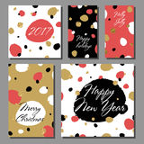 Collection of New Year and Christmas cards. Royalty Free Stock Images