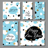 Collection of New Year and Christmas cards. Greeting card set with hand drawn abstract background. Posters set. Colorful vector illustration Stock Photography
