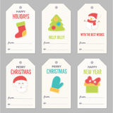 Collection of New Year and Christmas gift tags. vector illustration