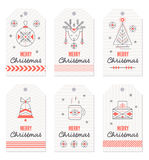Collection of New Year and Christmas gift tags. royalty free illustration