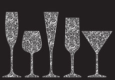 Collection of New Year's glasses. Made of lace Stock Photography