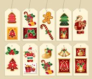 Collection of New Year's label Stock Image