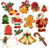 Collection of New Year's symbols Stock Photo