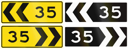 A collection of New Zealand road signs - Chevron with advisory speed.  Royalty Free Stock Photography