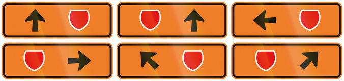 A collection of New Zealand road signs - Detour directions with badge symbol.  Stock Images