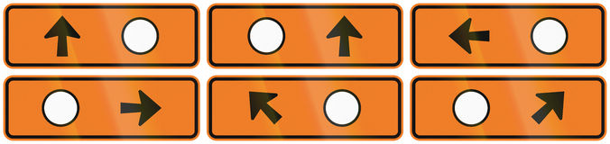 A collection of New Zealand road signs - Detour directions with circle symbol.  Royalty Free Stock Photography