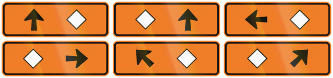 A collection of New Zealand road signs - Detour directions with diamond symbol.  Stock Photo