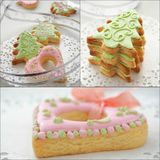 Collection of nice Christmas biscuits. Homemade Christmas sugar cookies glazed with royal icing. Collage of three photos. Selective focus Royalty Free Stock Photography