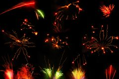 Collection of Night Fireworks royalty free stock photos