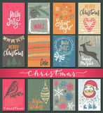 Collection of nine Christmas cards with hand drawn elements. Collection of nine Christmas cards. Greeting card set with hand drawn xmas tree, presents Royalty Free Stock Photos