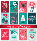Collection of nine Christmas cards with hand drawn elements. Royalty Free Stock Images