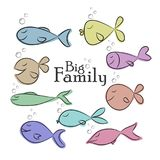 Collection of nine fishes sketch.Vector Illustration. Collection of nine fishes sketch. Printable card, poster with Big Family phrase. Isolated on white Stock Photo