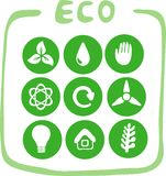 Collection of nine green eco-icons. This is file of EPS8 format Stock Photography