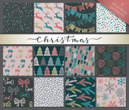 Collection of nine hand drawn winter holidays seamless patterns Stock Photo