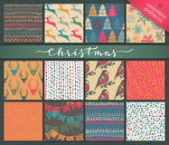 Collection of nine hand drawn winter holidays seamless patterns Stock Photography