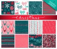 Collection of nine hand drawn winter holidays seamless patterns Stock Image