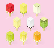Collection of nine illustrations of rectangular fruit ice cream. Fruit in section. Isometric style Stock Photos