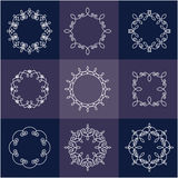 Collection of nine monograms. White on blue background. The geometry of the thematic lines, curves, intersections of lines, spiral elements of the same Royalty Free Stock Photography