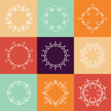 Collection of nine monograms. White on multicolor background. The geometry of the thematic lines, curves, intersections of lines, spiral elements of the same Royalty Free Stock Photo