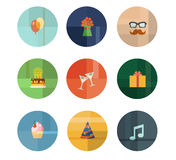 Collection of Nine Vector Birthday Party Icons Stock Photos