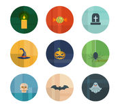 Collection of Nine Vector Halloween Icons Royalty Free Stock Image