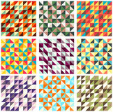 Collection of nine vector seamless patterns with trianglies Stock Photography