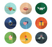 Collection of Nine Vector Valentine's Day Icons Royalty Free Stock Images