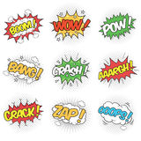 Collection of Nine Wording Sound Effects. For comic speech bubble Stock Photography