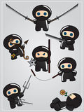 Collection of ninja weapon. With cute ninja character holding katana Royalty Free Stock Photo