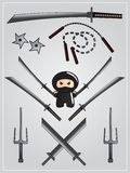 Collection of ninja weapon. With cute ninja character holding katana Stock Image